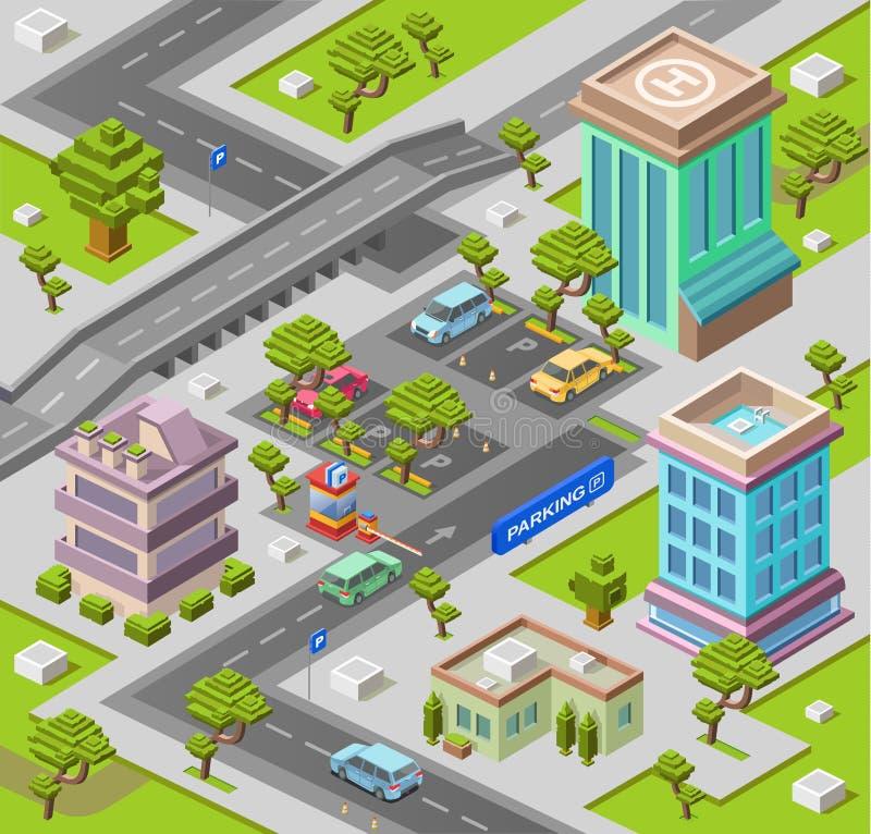 El ejemplo isométrico del vector 3D del estacionamiento de la ciudad de edificios de oficinas urbanos modernos y aparcamiento de  stock de ilustración