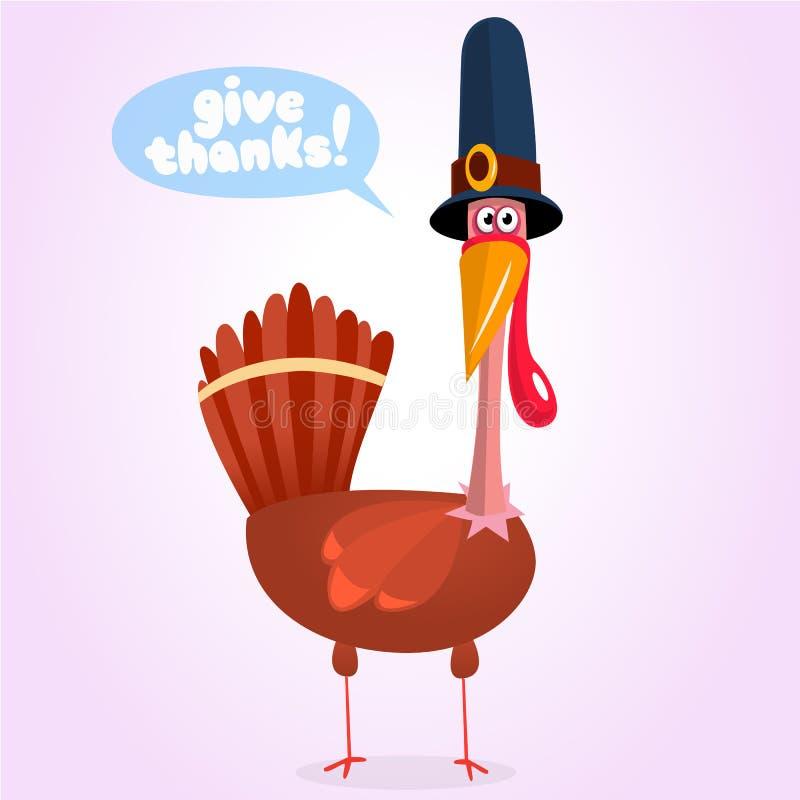 El ejemplo lindo del vector del pavo de la historieta con un mensaje da gracias libre illustration