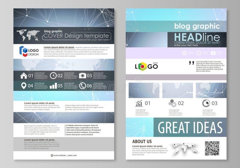 El ejemplo minimalistic abstracto del vector de la disposición editable del diseño moderno de la maqueta de dos del blog páginas  stock de ilustración