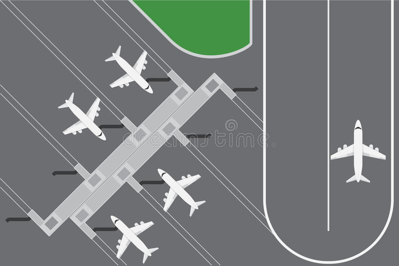 El ejemplo plano del vector del diseño del buildingwith del aeropuerto planea el terminal con la pista ilustración del vector