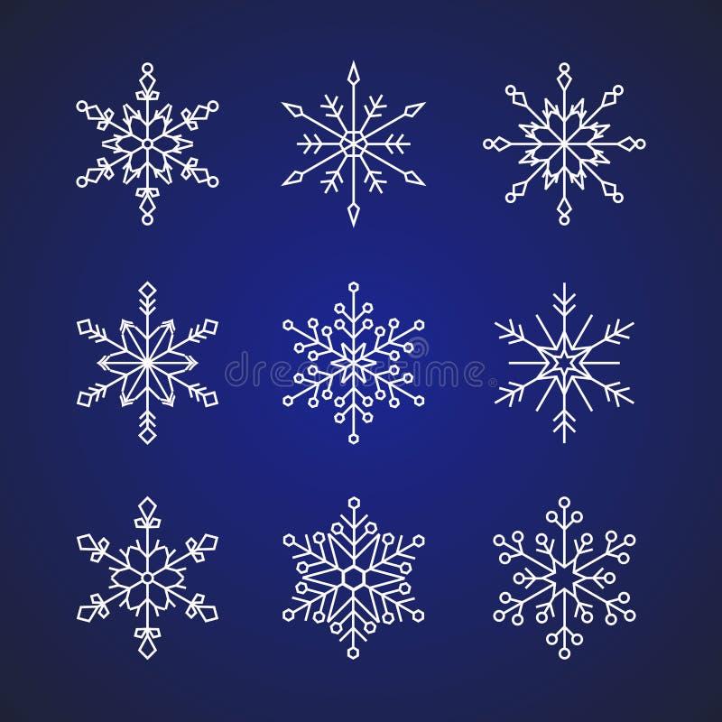 el ejemplo plano del vector del diseño del estilo de 9 copos de nieve fijó muestras del icono aisladas en fondo azul marino de la libre illustration