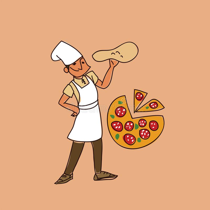 El ejemplo principal del bosquejo del ejemplo del vector de la pizza aisló ilustración del vector