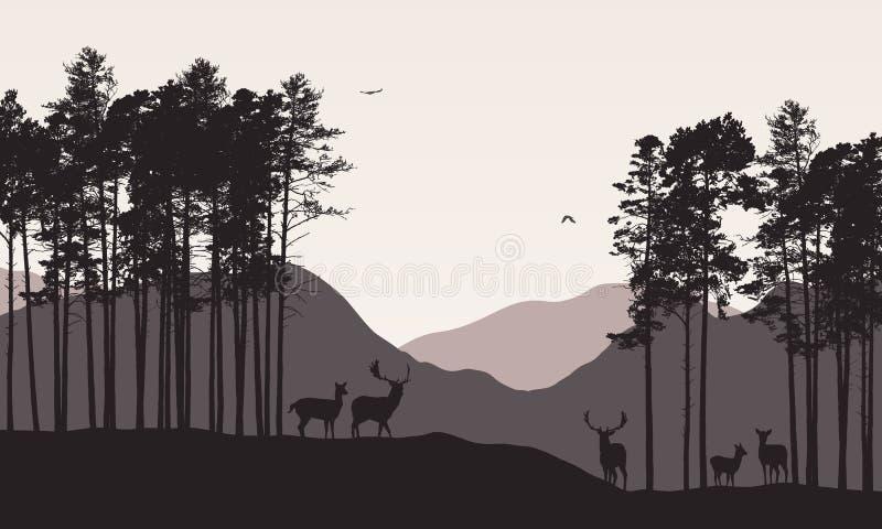 El ejemplo realista del paisaje de la montaña con la manada de ciervos conífera del bosque pasta debajo del cielo retro del color ilustración del vector