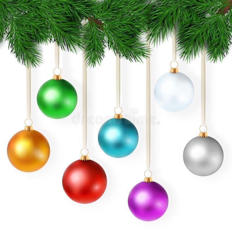 El ejemplo realista del vector con el sistema de bolas coloridas brillantes de la Navidad está colgando en una rama del árbol de  ilustración del vector