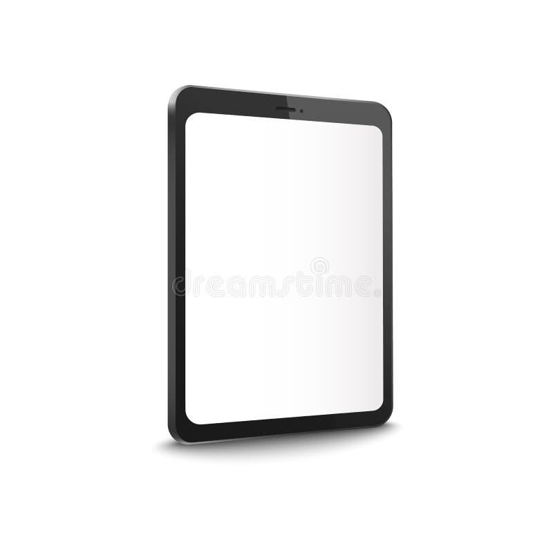 El ejemplo realista del vector de la maqueta 3d de la pantalla de la tableta editable del espacio en blanco aisló stock de ilustración