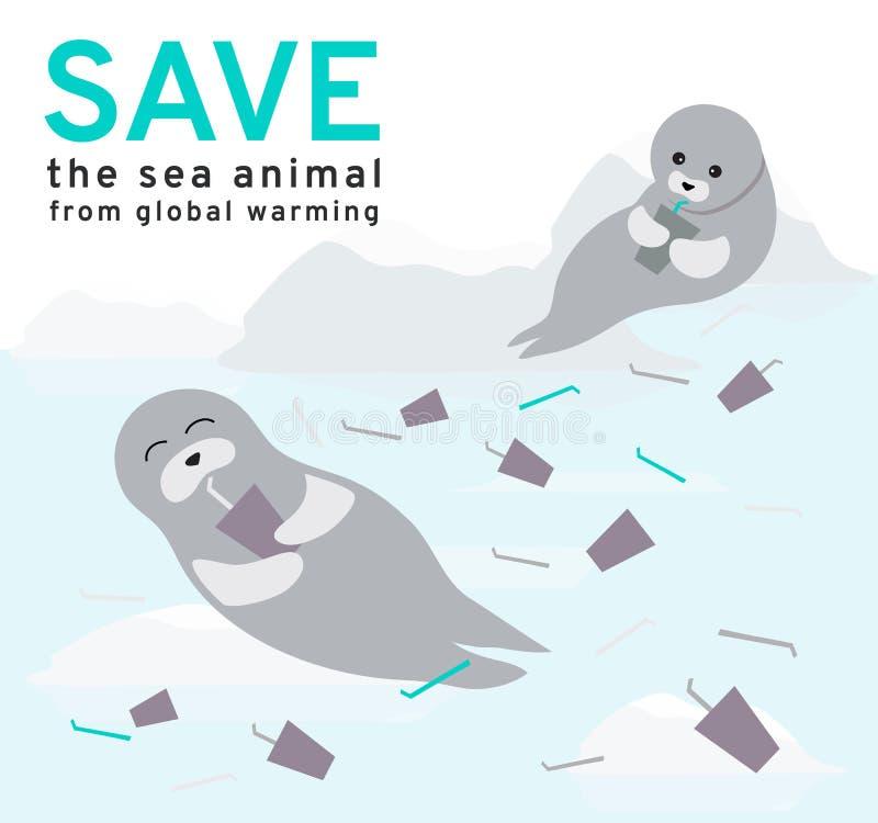 El ejemplo refleja los problemas ambientales actuales de los sellos, el hielo está derritiendo constantemente de la contaminaci ilustración del vector