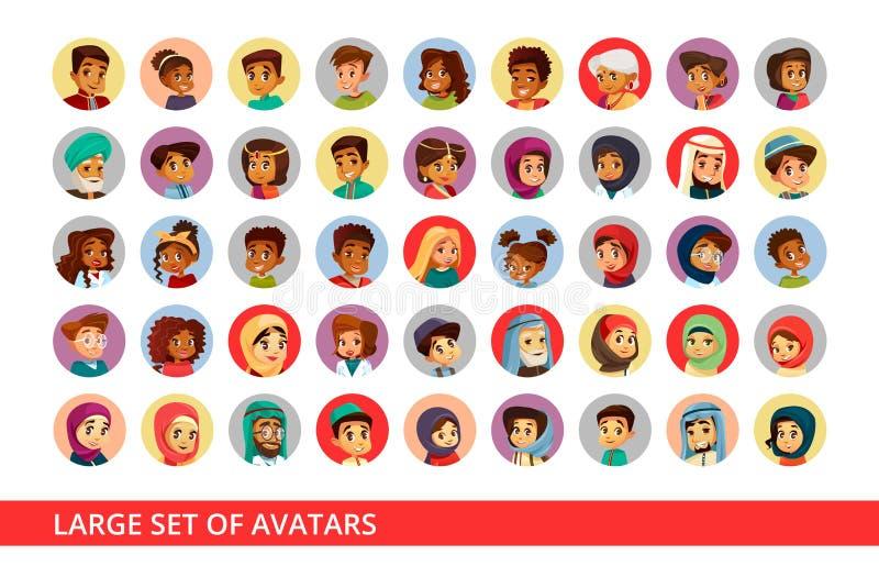 El ejemplo social de la historieta de los avatares del usuario de la red de diversa nacionalidad de la gente y de los niños para  ilustración del vector