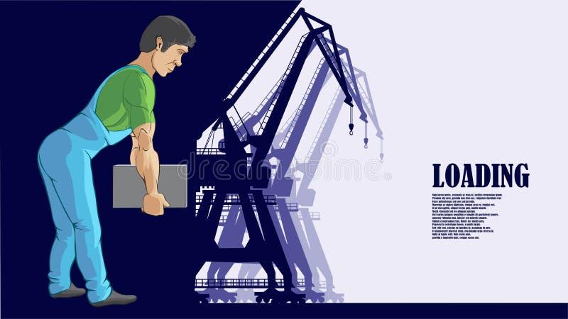 El ejemplo, un trabajador del puerto mueve una caja pesada libre illustration