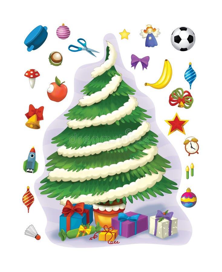 El ejercicio de la Navidad - árbol de navidad - página del ejemplo y del trabajo para los niños stock de ilustración