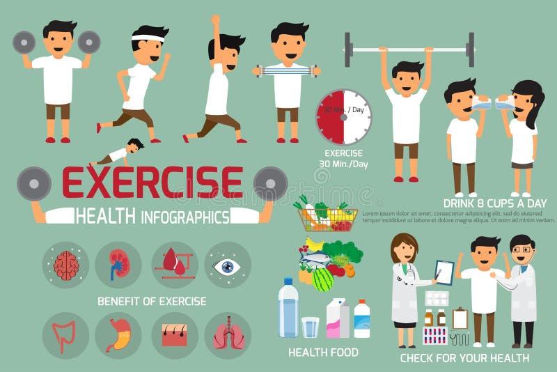 El ejercicio o el deporte para la salud y comprueba su infographics del cuerpo V ilustración del vector