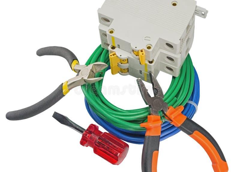 El electricista equipa al grupo en blanco imagen de archivo libre de regalías