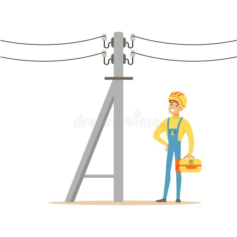 El electricista que trabaja en polo de la energía eléctrica, hombre eléctrico que realiza trabajos eléctricos vector el ejemplo ilustración del vector