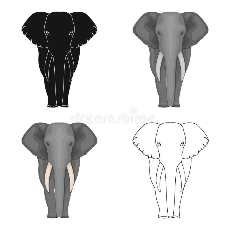 El elefante, el animal salvaje más grande El elefante africano con los colmillos escoge el icono en la acción del símbolo del vec libre illustration