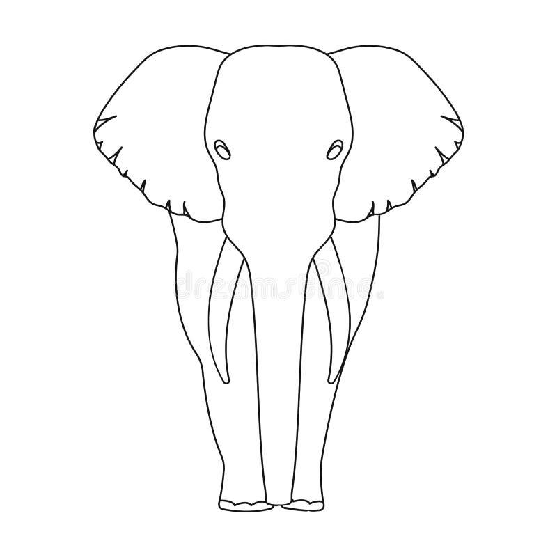 El elefante, el animal salvaje más grande El elefante africano con los colmillos escoge el icono en la acción del símbolo del vec stock de ilustración