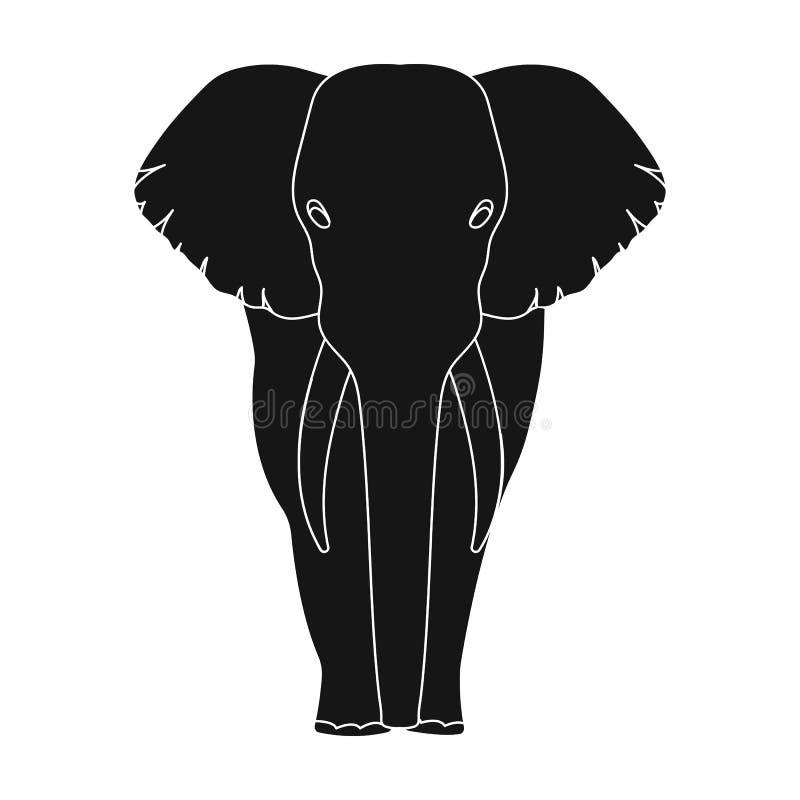 El elefante, el animal salvaje más grande El elefante africano con los colmillos escoge el icono en la acción negra del símbolo d libre illustration