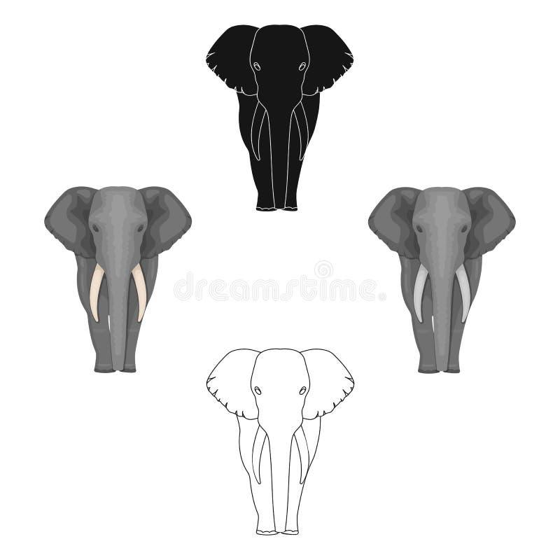 El elefante, el animal salvaje m?s grande Elefante africano con el solo icono de los colmillos en la historieta, símbolo negro de libre illustration