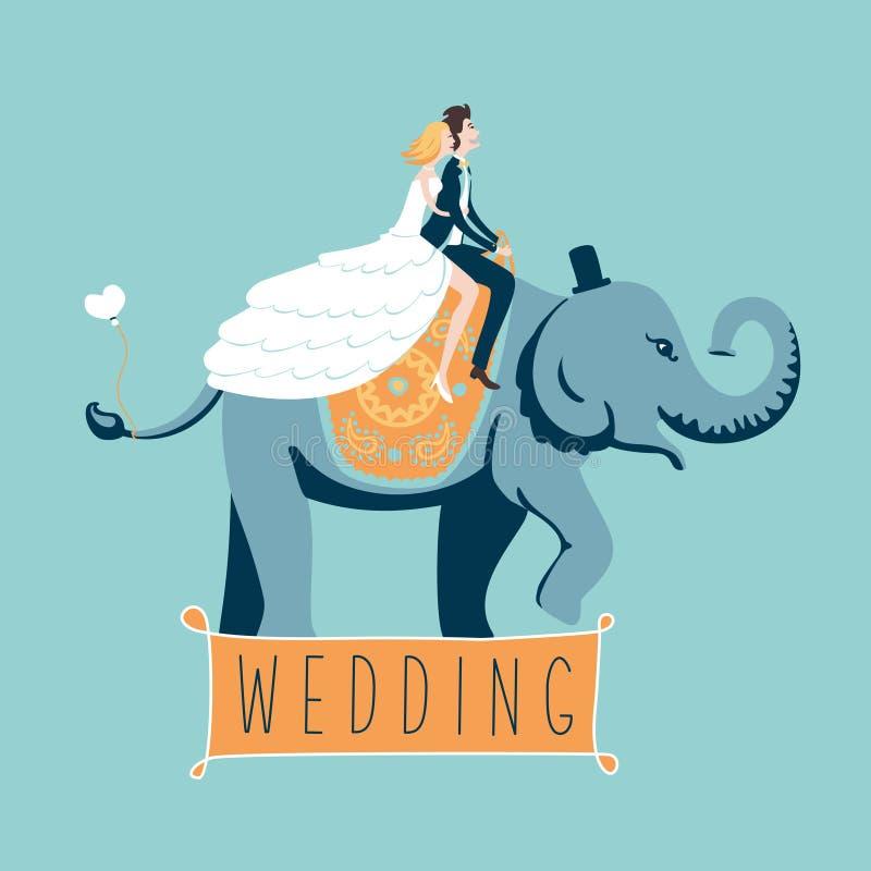 El elefante de la boda ilustración del vector