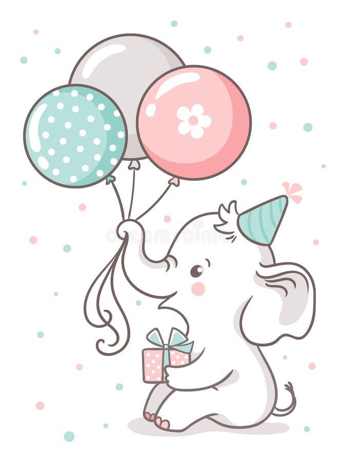El elefante lindo del bebé sienta y sostiene los globos de un globo Tarjeta de felicitación con un animal lindo de la historieta stock de ilustración