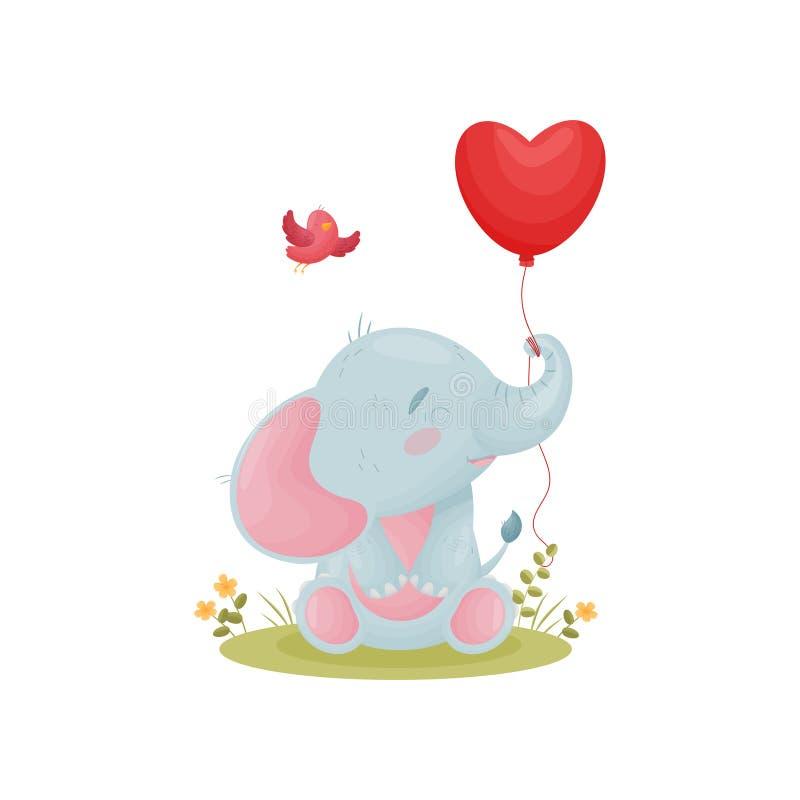 El elefante lindo del bebé sostiene el tronco de un globo rojo Ilustraci?n del vector en el fondo blanco stock de ilustración