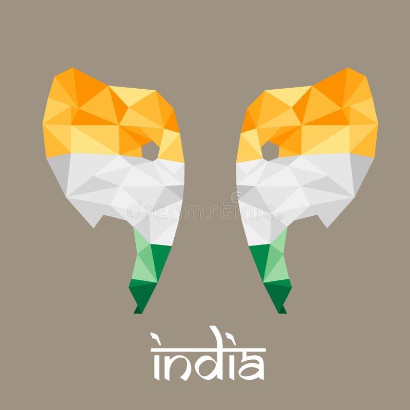 El elefante poligonal bajo la India en el estilo popular, diseño libre illustration