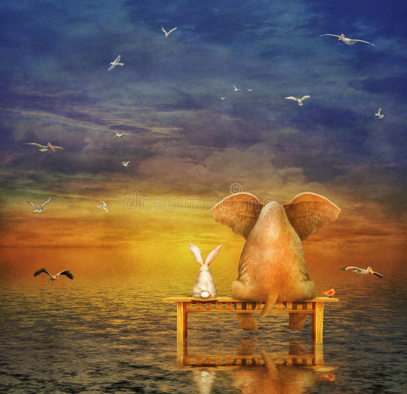 El elefante y el conejo se sientan en un banco ilustración del vector