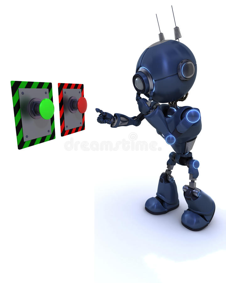 El elegir androide que abotonan para empujar stock de ilustración