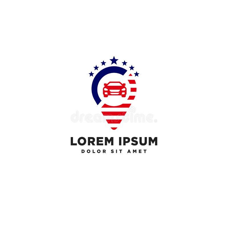 el elemento americano del icono del ejemplo del vector de la plantilla del logotipo del navegador del viaje aisló stock de ilustración