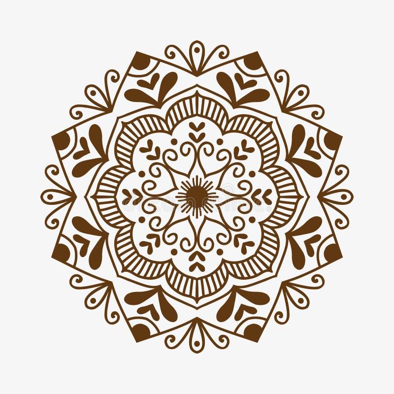 El elemento decorativo del cordón ornamental del garabato de la plantilla de la flor del mehndi del marrón del tatuaje de la alhe libre illustration