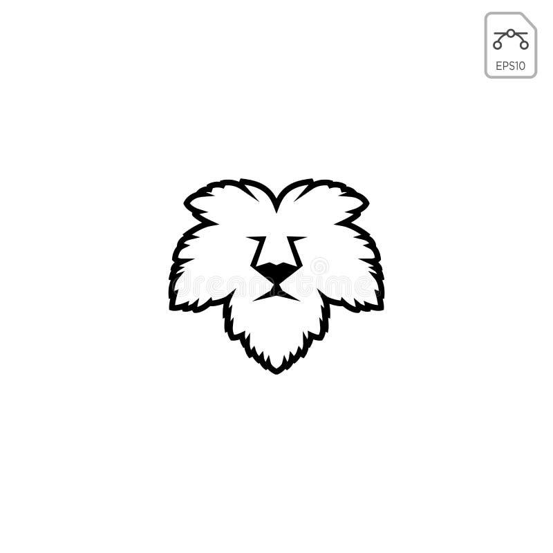 el elemento del icono del vector de la plantilla del logotipo de la naturaleza de la hoja de la cara del león aisló ilustración del vector