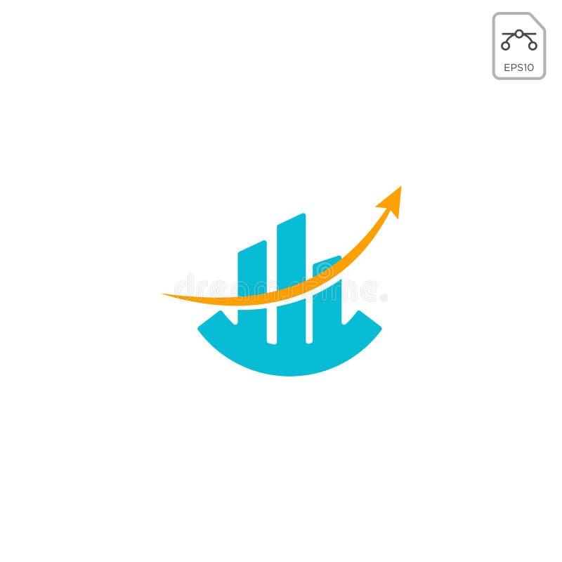 el elemento del icono del vector del diseño del logotipo del diagrama de carta aisló stock de ilustración