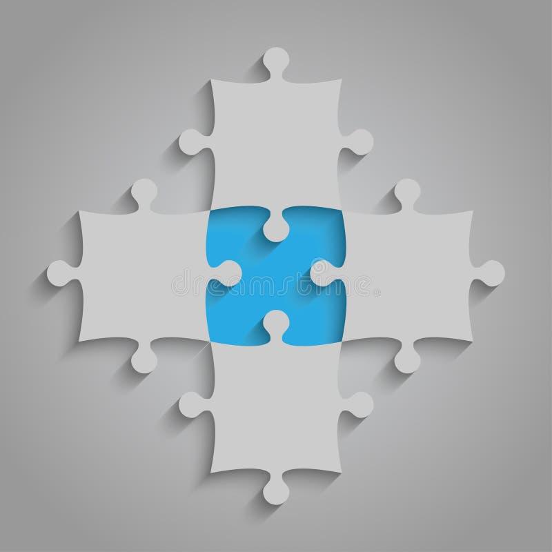 El elemento del vector desconcierta el rompecabezas - 5 pedazos azul libre illustration