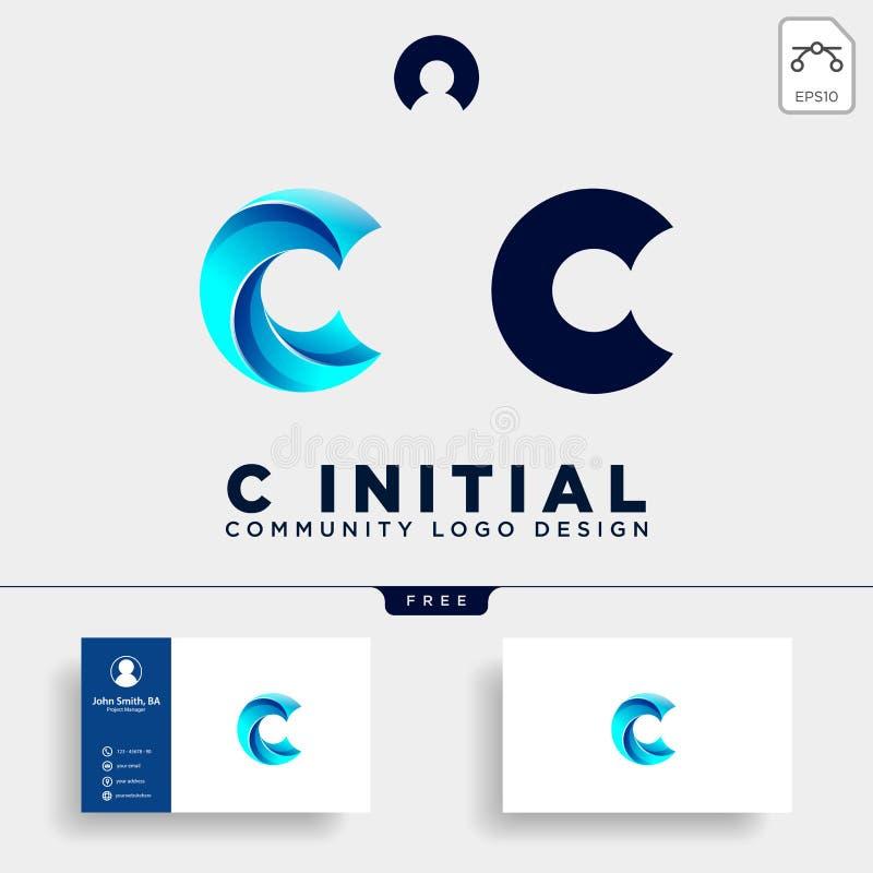 el elemento humano del icono del ejemplo de la plantilla del logotipo de la comunidad de la letra c aisló stock de ilustración