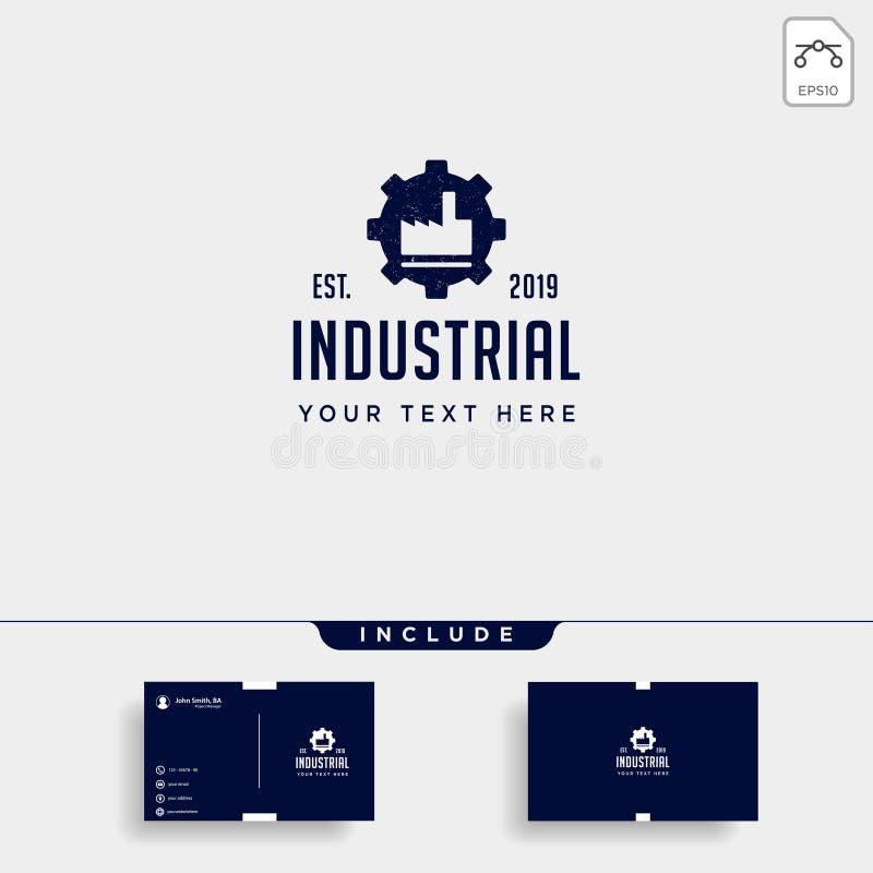 el elemento industrial del icono del vector del diseño del logotipo de la fábrica del engranaje aisló libre illustration