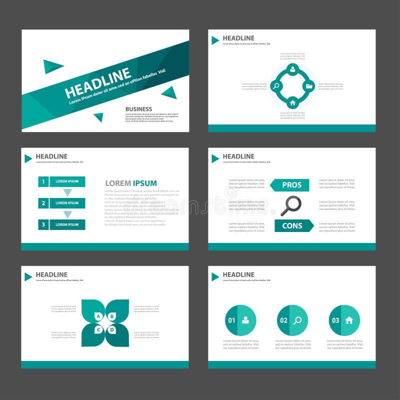 El elemento infographic del polígono verde abstracto y el diseño plano de las plantillas de la presentación del icono fijaron par stock de ilustración