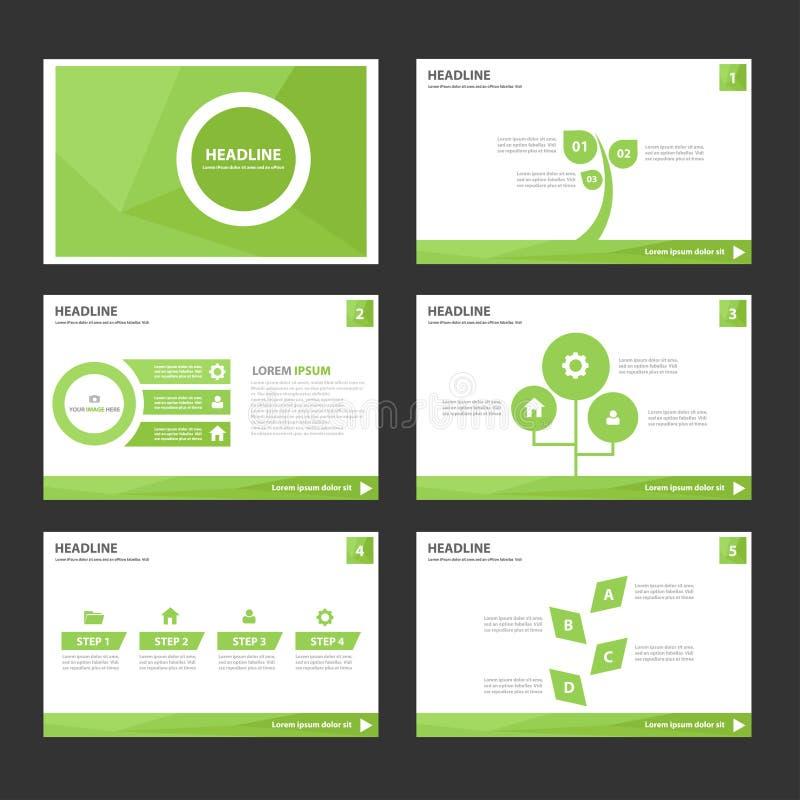 El elemento infographic del verde abstracto de la hoja y el diseño plano de las plantillas de la presentación del icono fijaron p ilustración del vector