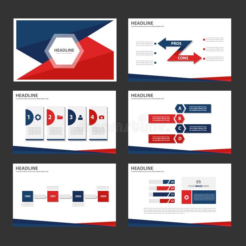 El elemento infographic rojo y azul y el diseño plano de las plantillas de la presentación del icono fijaron para el sitio web de ilustración del vector