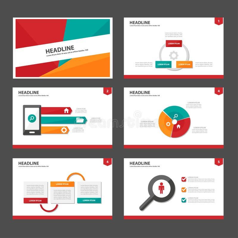 El elemento infographic verde y verde rojo y el diseño plano de las plantillas de la presentación del icono fijaron para el sitio stock de ilustración