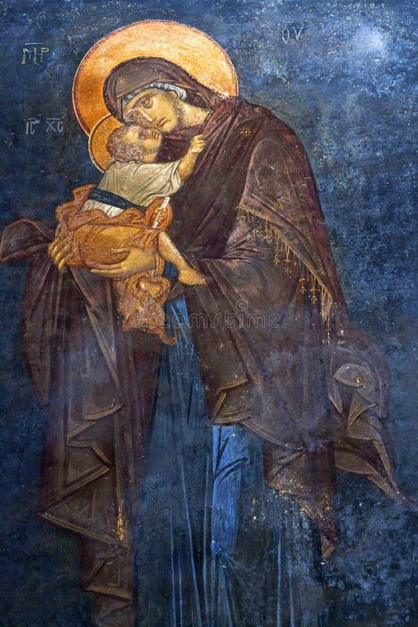 El Eleusa - Virgen María y niño bendecidos Fres pintados antiguos imagen de archivo libre de regalías