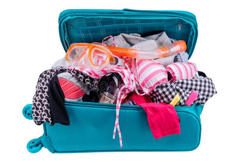 El embalar a ir el las vacaciones aisladas en el fondo blanco fotografía de archivo libre de regalías
