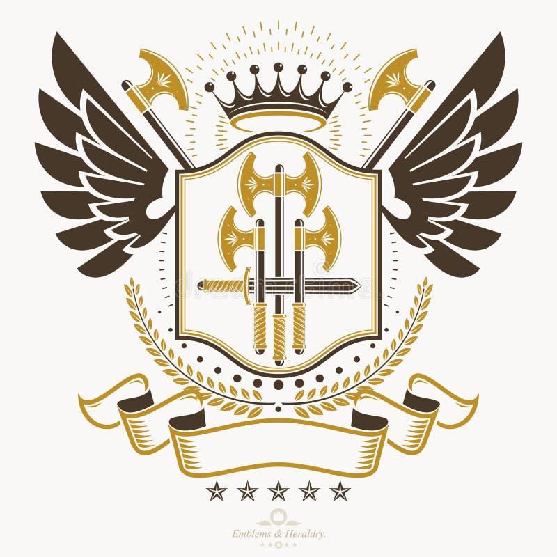 El emblema con clase, vector el escudo de armas heráldico stock de ilustración