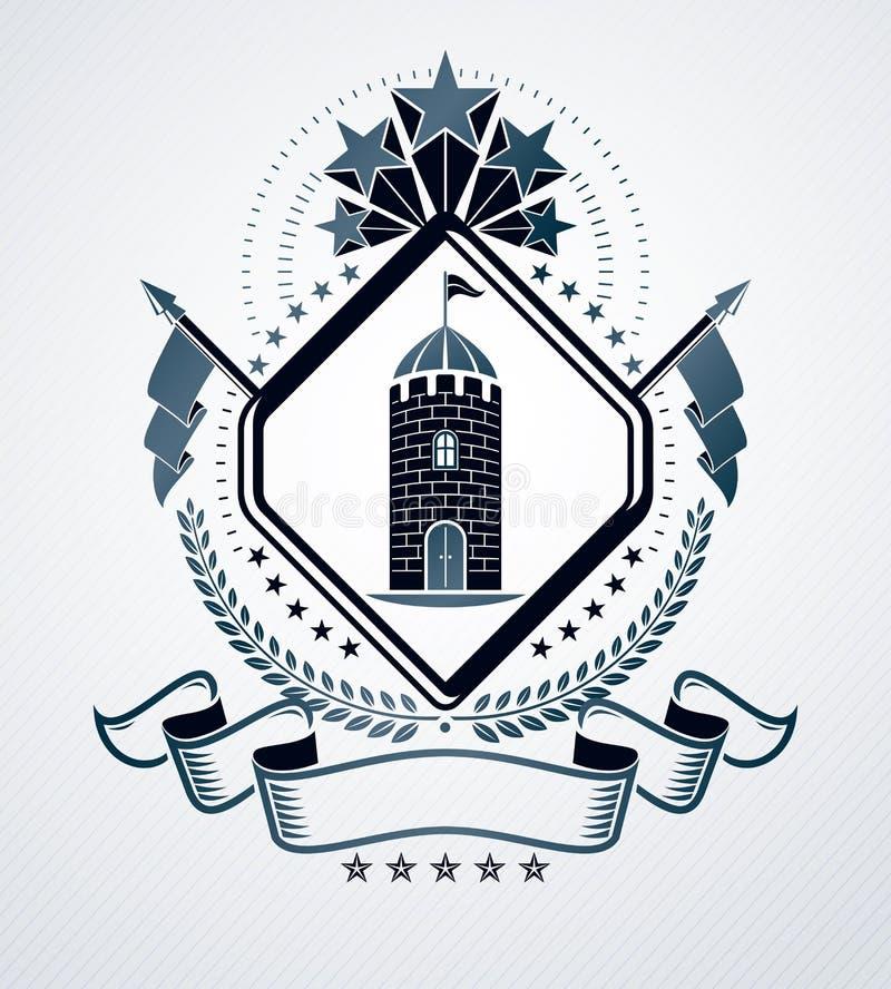 El emblema con clase, vector el escudo de armas heráldico ilustración del vector