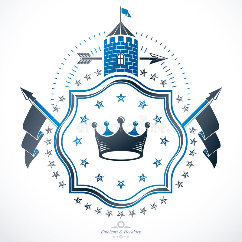 El emblema con clase, vector el escudo de armas her?ldico stock de ilustración