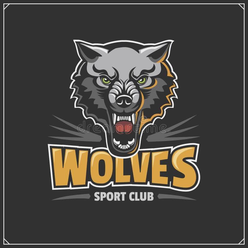 El emblema con el lobo para un equipo de deporte stock de ilustración