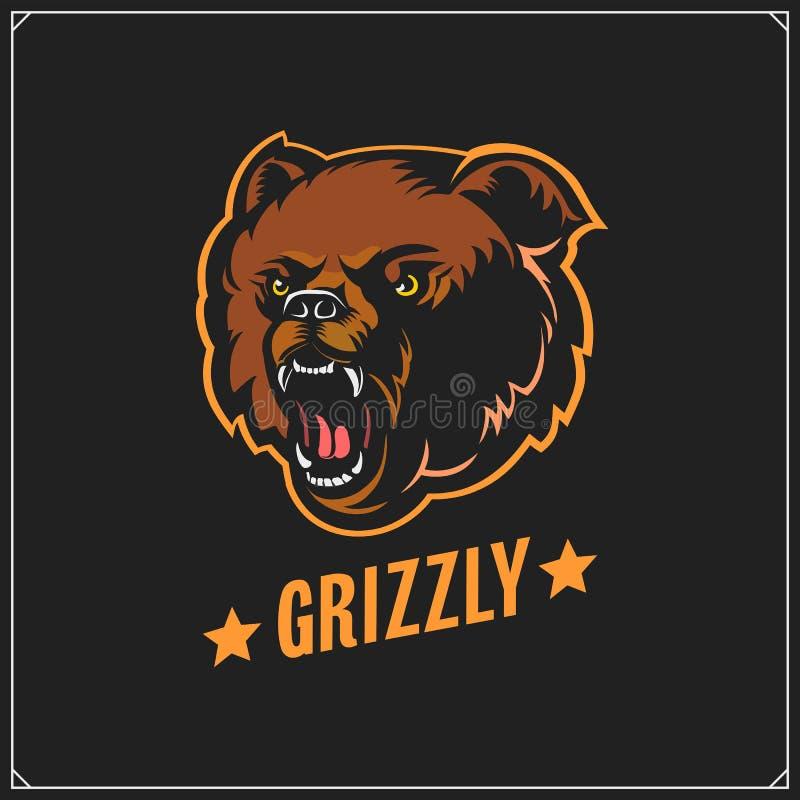 Siluetas Y Ejemplos Del Oso Grizzly Etiquetas, Emblemas Y Elementos Del Diseño Para El Club De ...