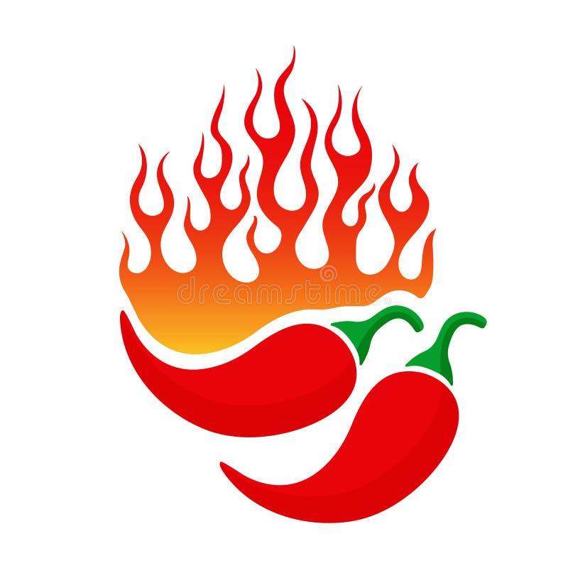 El emblema de la historieta con pimienta de chile y el fuego flamean ilustración del vector