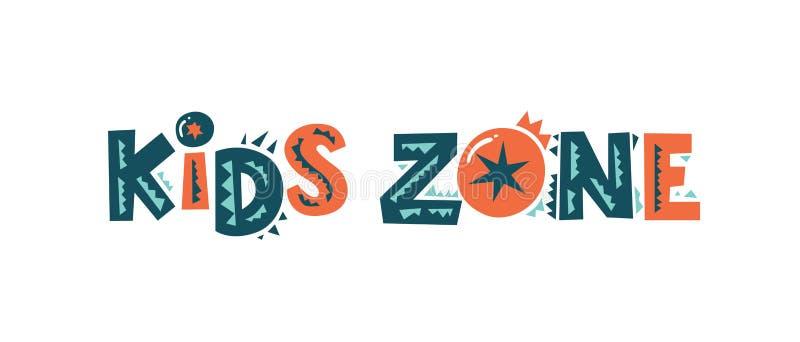 El emblema de la zona de los niños, firma adentro el estilo de la historieta para la sala de juegos de los niños libre illustration