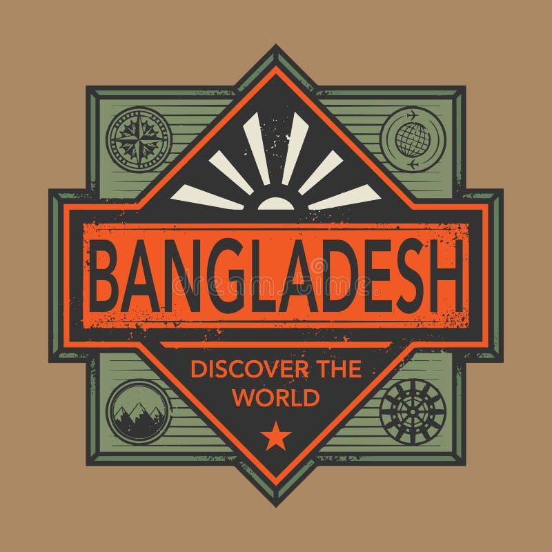 El emblema del sello o del vintage con el texto Bangladesh, descubre el mundo stock de ilustración