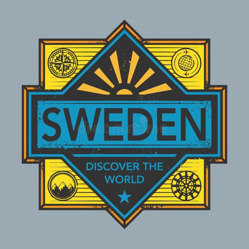 El emblema del sello o del vintage con el texto Suecia, descubre el mundo stock de ilustración