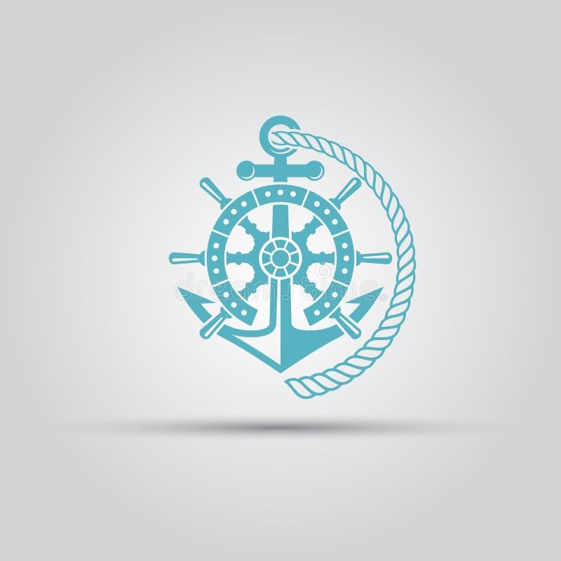 El emblema náutico con el ancla, cuerda aisló vector stock de ilustración
