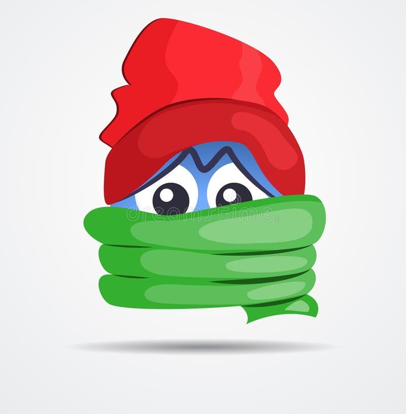 El Emoticon aislado en invierno viste en un diseño plano ilustración del vector